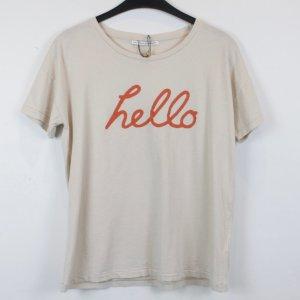 Day Birger & Mikkelsen Shirt Baumwolle Gr. S beige mit Schrift Print NEU mit Etikett (18/2/510)