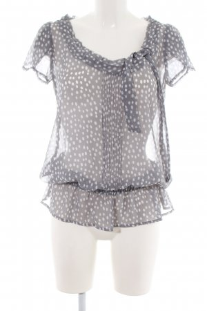 de.corp by Esprit Short Sleeved Blouse light grey-white spot pattern casual look