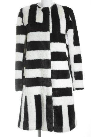 De' Hart Jas van imitatiebont zwart-wit gestreept patroon pluizig