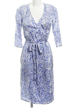 Dea Kudibal Vestido cruzado blanco-azul acero estampado floral estilo clásico