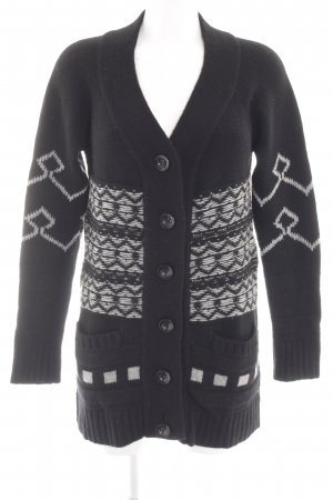 Dear Cashmere Knitted Coat black abstract pattern casual look