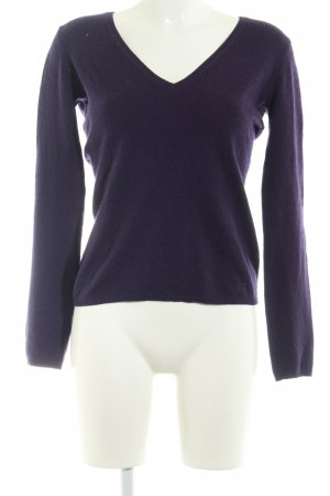 Dear Cashmere V-Ausschnitt-Pullover dunkelviolett schlichter Stil