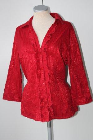 Debenhams Bluse rot Langarm Cotton Gr. 16 gerüscht figurbetonend