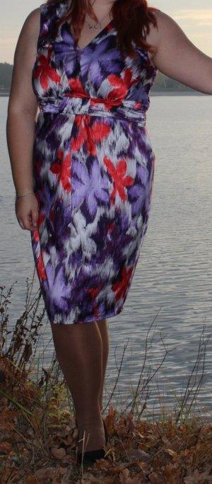 Debenhams Petite Gr. UK 18 44 XL lila weiß rot Satinkleid gerafft knielang