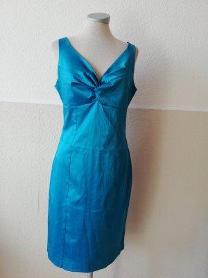 Debenhams Satinkleid Gr. UK 12 EUR 40 M L neu blau Satin Kleid knielang midikleid