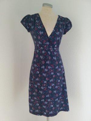 Debenhams Shirtkleid blaubunt Gr.UK 8 EUR 36 34 XS S kurzarm Kleid kurz wickeloptik