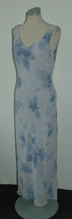 debut Debenhams Kleid UK 12 EUR 40 D 38 40 lang blau Maxikleid M