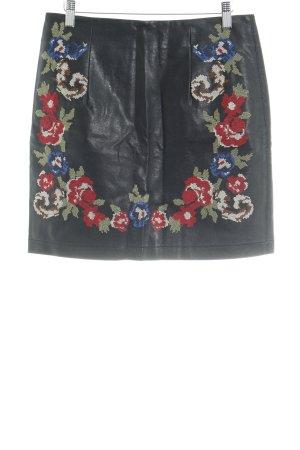 Deby Debo Lederrock schwarz florales Muster Romantik-Look