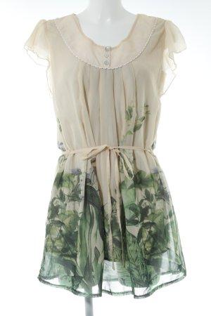 Deby Debo Minikleid hellbeige-waldgrün florales Muster Casual-Look