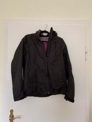 Decathlon Imperméable noir-rouge framboise