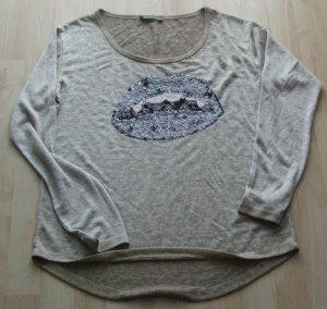 DECAY JEANSWEAR Pulli Shirt Pailletten Mund - Gr. L