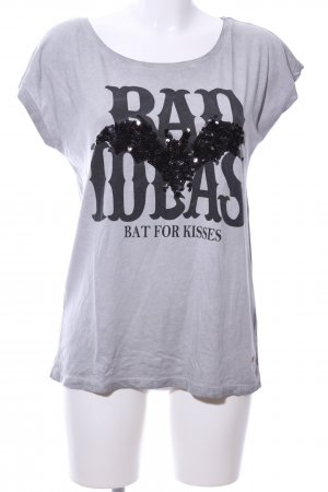 Decay Women Boothalsshirt lichtgrijs gedrukte letters casual uitstraling