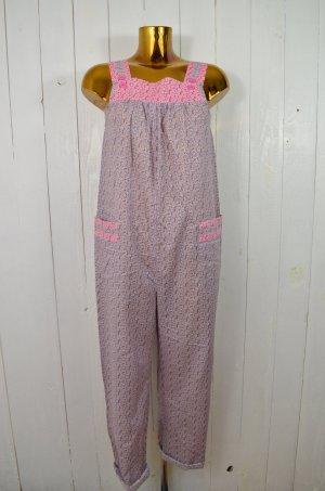 DEEDAY Damen Jumpsuit Overall Latz Baumwolle Blumen Pink Lila Flieder Weiß 36/38