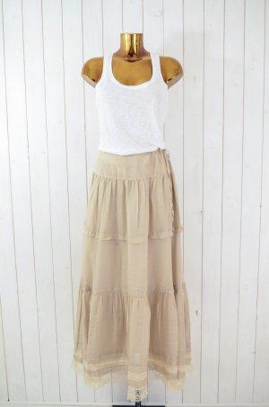 Falda larga beige claro-crema