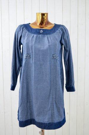 DEEDAY Kleid Jeanskleid Jeans Denim Blau Blumen Biesen Rundhals 3/4 Arm 36/38