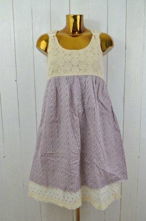 DEEDAY Kleid Trägerkleid Baumwolle Sommer Spitze Ecru Lila Weiß Blumen Gr. 36/38
