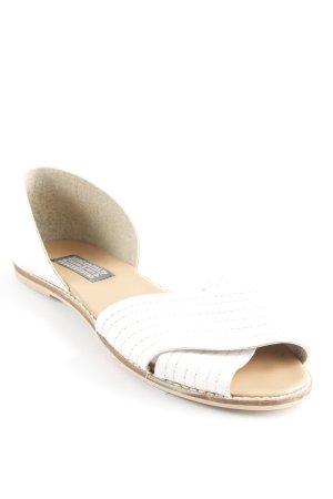 Deena & Ozzy Peep Toe ballerina's beige-wit casual uitstraling