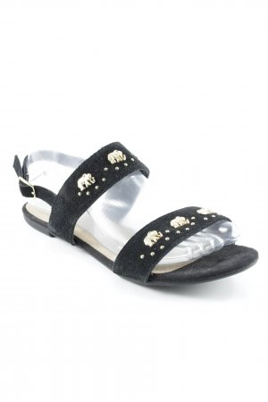 Deena & Ozzy Strapped Sandals black-gold-colored beach look