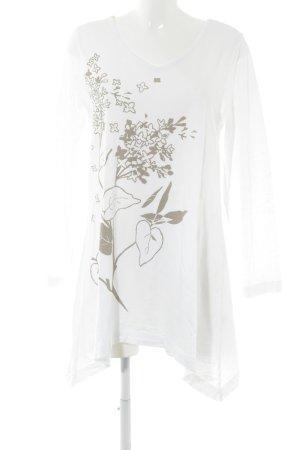 Deerberg Haut long blanc imprimé avec thème style décontracté