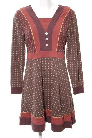 Deerberg Abito elasticizzato marrone-rosso stampa integrale look vintage