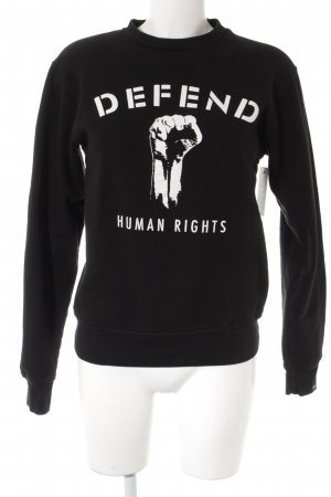 Defend Sweatshirt schwarz-weiß Motivdruck Casual-Look
