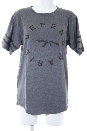 Defend T-Shirt grau-dunkelgrau platzierter Druck Casual-Look