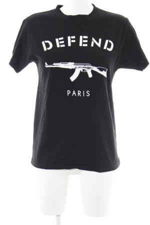 Defend T-Shirt schwarz-weiß platzierter Druck Casual-Look