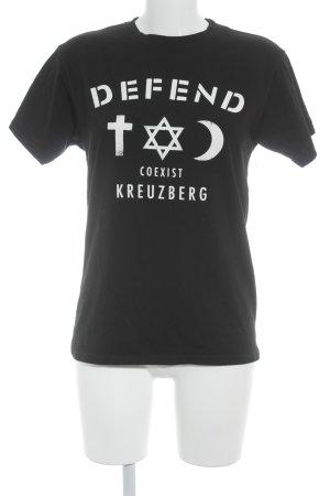 Defend T-Shirt schwarz-weiß Schriftzug gedruckt Street-Fashion-Look