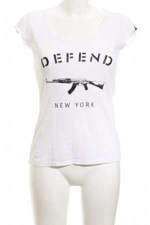 Defend T-Shirt weiß Motivdruck Casual-Look