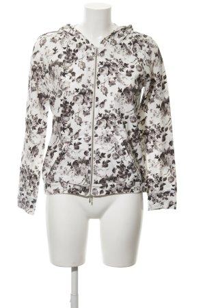 Deha Sweatjacke weiß-schwarz Blumenmuster Casual-Look