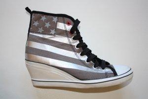 Deichmann Graceland Stoffschuhe m. Keilabsatz / Gr. 41 / Schuhe / Schnürsneaker / Sneaker / Keilabsatz / silber-schwarz-weiss-braun / Stiefeletten / Keil-Stiefeletten