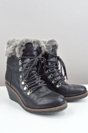 Deichmann Stiefel mit Kunstfell und Keilabsatz schwarz Größe 39
