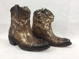 Fantasy Western Boots brown-gold-colored leather