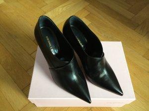 Deimille italienische Pumps Stiefeletten Leder schwarz Größe 37 NEU