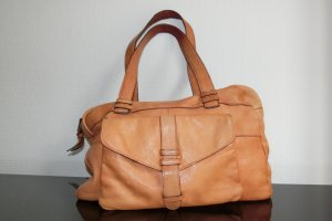Pieces Carry Bag cognac-coloured leather