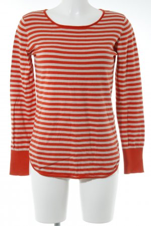 Delicate Love Fine Knitted Cardigan dark orange-oatmeal striped pattern