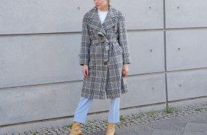 Cappotto in lana beige chiaro-grigio-verde Lana d'angora