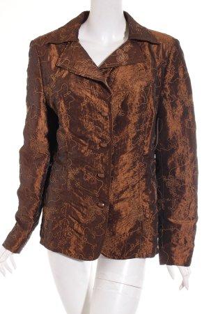 Delmod Blazer bronzefarben-hellbraun florales Muster extravaganter Stil
