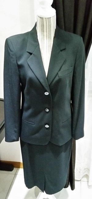 delmod International Kostüm schwarz 36 Schurwolle Damen Jacket Blazer Rock