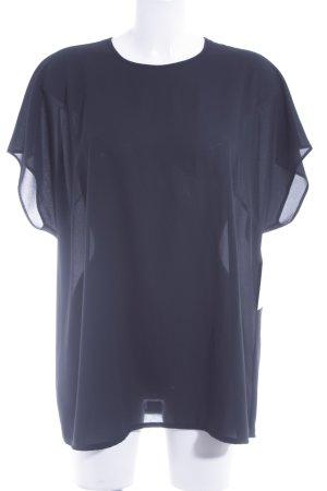 Delmod Kurzarm-Bluse schwarz Elegant