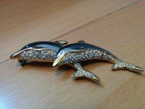 Delphin Brosche Modeschmuck mit Zirkonia Gold und Silber