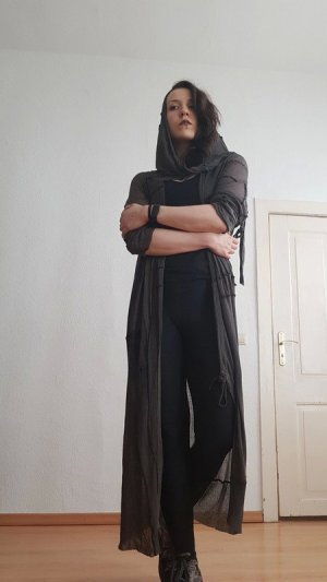 Manteau en tricot gris brun-gris violet coton