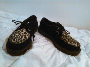 Demonia Creeper-600 zwart- punk, emo creepers mit leoparden print