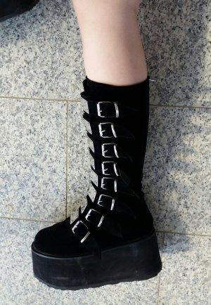 Demonia Damned 318 Black Velvet Plateau Stiefel Gothic Punk