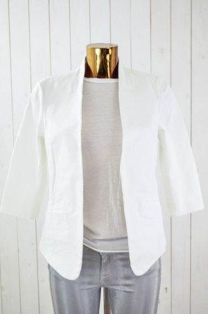 DENHAM Damen Blazer Jacke Baumwolle Stretch Weiß 3/4-Arm Offen Gr.36