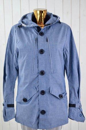 DENHAM Damen Jacke Regenjacke Blau Melange Beschichtet Kapuze Maumwolle Gr.M
