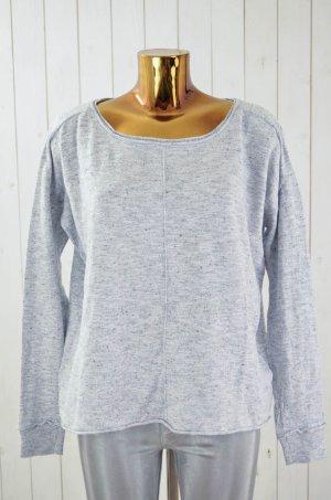 DENHAM Damen Sweatshirt Sweater Grau Melange Baumwolle Leinen U-Ausschnitt Gr.M
