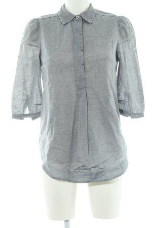 Denham Camicetta a maniche lunghe bianco-blu acciaio stile casual