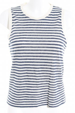 Denham Tank Top natural white-steel blue striped pattern casual look