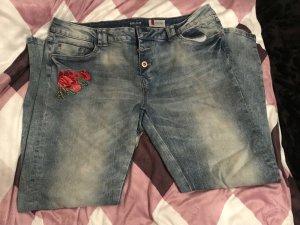 Denim 1982 Damen Boyfriend Jeans Jeanshose Hose Blau Used Stickerei W34 Neu 44